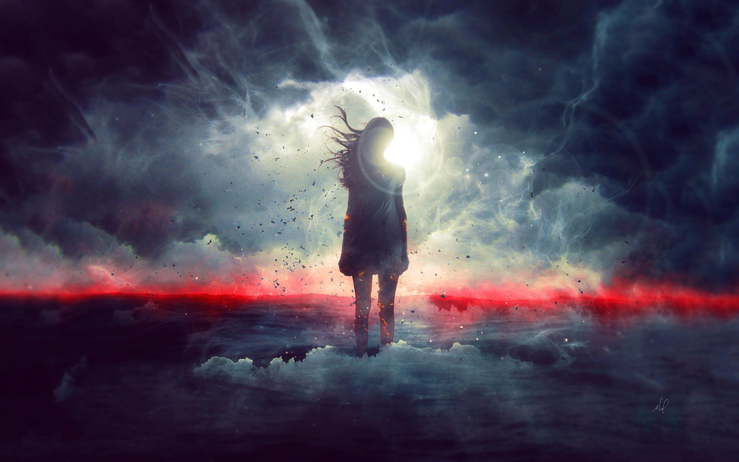 Girl standing in clouds
